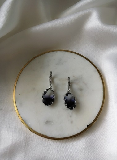 My Joyas Design Siyah & Mor Kesme Cam Taşlı Küpe Renkli